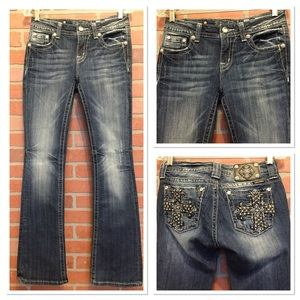 Miss Me jeans 27 mid rise boot cut bling (4D39)